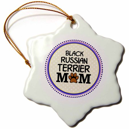 3dRose Black Russian Terrier Dog Mom - Doggie mama by breed - paw print mum - doggy lover - proud pet owner - Snowflake Ornament, - Black Russian Terrier Dogs