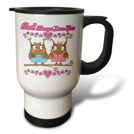 3dRose Owl Ill Always Love You Cute Valentine Owl Couple, Travel Mug, 14oz, Stainless Steel