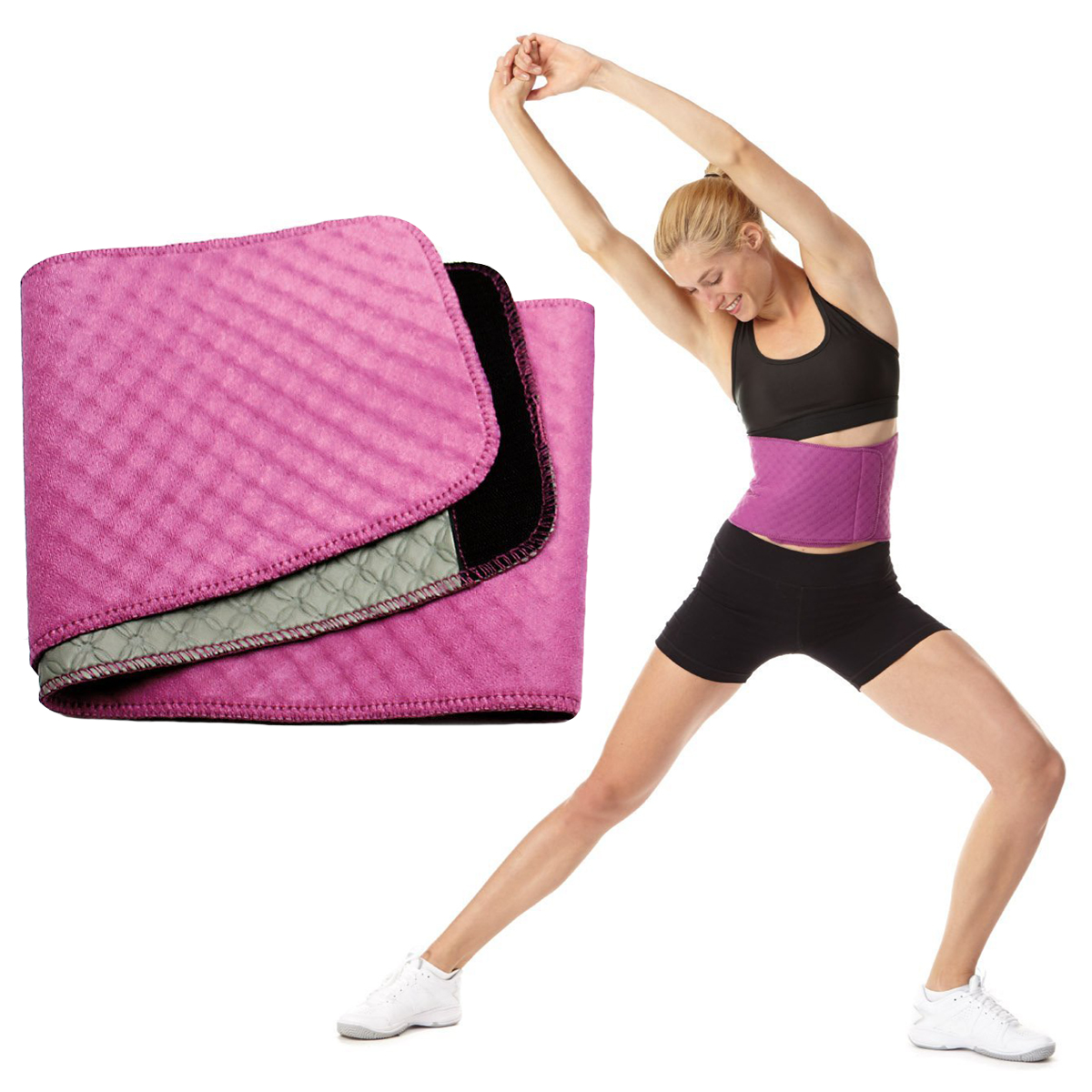 Women's BodyFit Quilted Slimmer Exercise Belt By Sports Authority Waist Trimmer Weight Loss