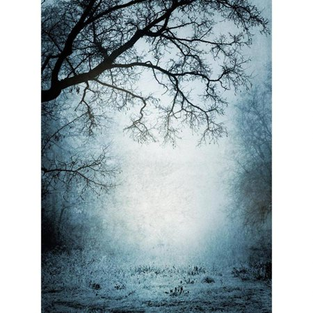 Halloween Fog Background (HelloDecor Polyster Halloween Photo Backdrops Grunge Park with Dry Trees Mysterious Fog Photography Studio Background)