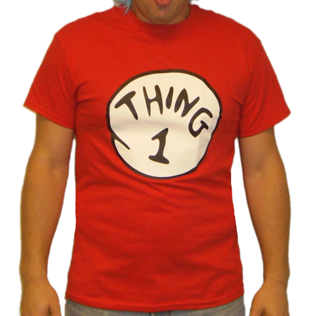 Thing 1 T-Shirt Costume Movie Book Adult Womens Red Couple Twins Shirt Gift ()