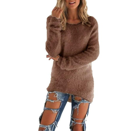 Women Casual Tops Mohair Blend Fuzzy Blouse Pullover Jumper Loose Sweater Knitwear