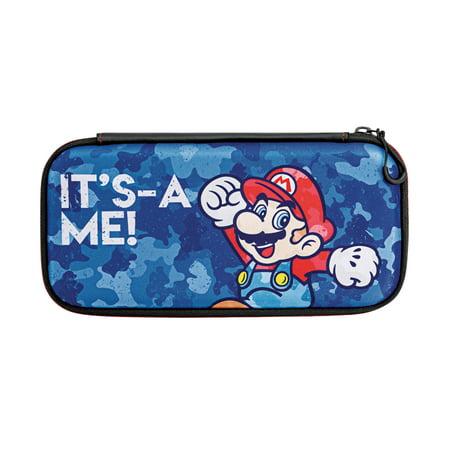 PDP Nintendo Switch Camo Slim Travel Case Super Mario Bros Mario Edition, (Stitch Camo)