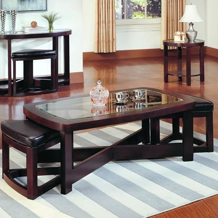 trent home redell rectangle glass top cocktail table with 2 ottomans. Black Bedroom Furniture Sets. Home Design Ideas