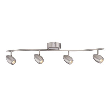 4-LIGHT LED TRACK FIXTURE, 3 FT., CURVED BAR, BRUSHED NICKEL, DIMMABLE, INTEGRATED LED INCLUDED