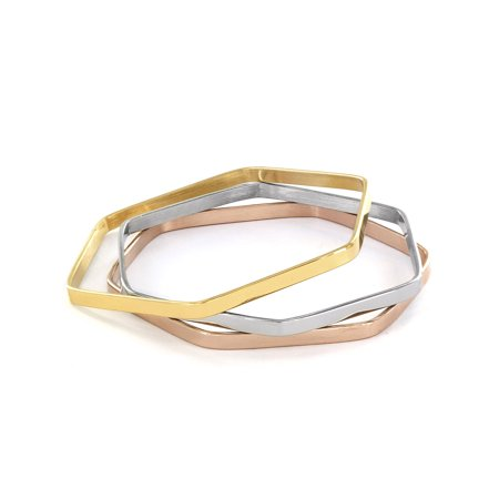 Set of 3 Tri-Color Hexagon Bangle Bracelet Set