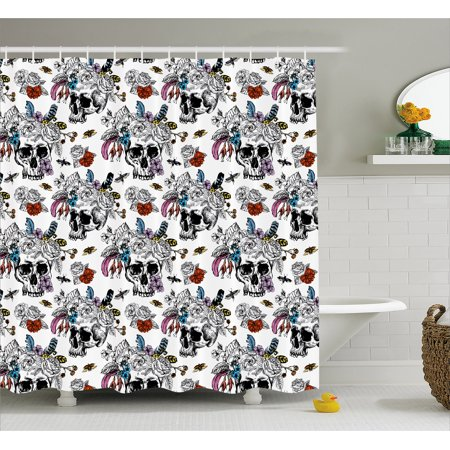Gothic Shower Curtain, Day of the Dead Inspired Human Skulls Design with Colorful Flowers Mexican Tradition, Fabric Bathroom Set with Hooks, 69W X 70L Inches, Multicolor, by Ambesonne