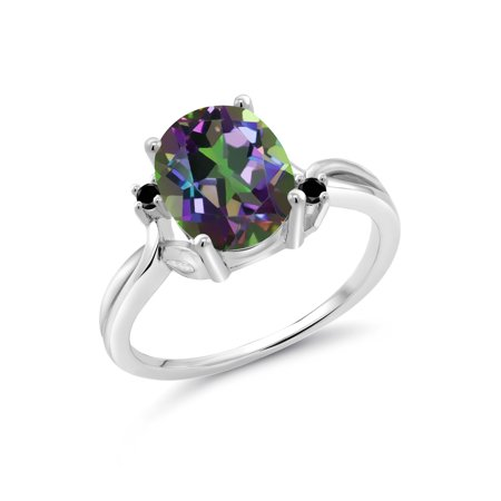 Oval Green Quartz Ring - 3.03 Ct Oval Green Mystic Quartz Black Diamond 925 Sterling Silver Ring