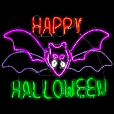 The Holiday Aisle Light Glo Flashing Flying Bat with Happy Halloween Lighted Display (Halloween Yard Display 2017)