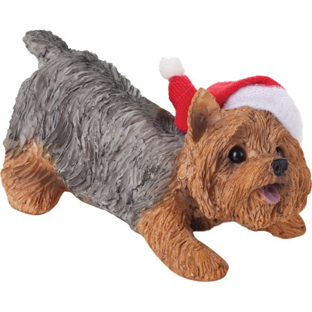 Sandicast Crouching Yorkshire Terrier with Santa's Hat Christmas Dog Ornament