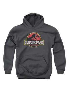 Jurassic Park Stone Logo Big Boys Youth Pullover Hoodie CHARCOAL
