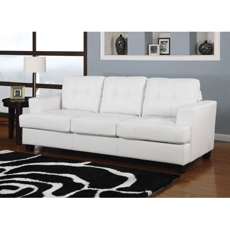 Simple Relax Platinum White Bonded Leather Sofa With Queen ...
