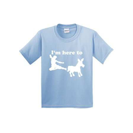 Trendy USA 1229 - Youth T-Shirt I'm Here to Kick Ass Karate Donkey Medium Light