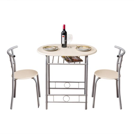UBesGoo Dining Table Set 3-Piece Rustic Breakfast Bistro Pub Table with 2 Chairs for Kitchen and Restaurant ()