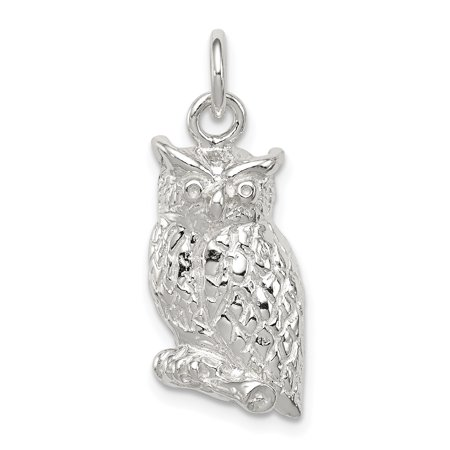 925 Sterling Silver Textured Perched Owl Pendant Charm Necklace Bird Gifts For Women For Her
