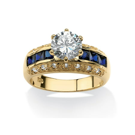 3.53 TCW Round Cubic Zirconia and Simulated Blue Sapphire Ring in 14k Gold Over Sterling (Blue Sapphire Cubic Zirconia Ring)