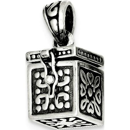 Leslies Fine Jewelry Designer 925 Sterling Silver Square Prayer Box (11x25mm) Pendant Gift