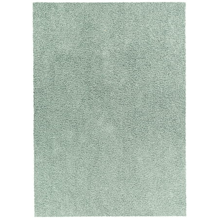 Mainstays Solid Olefin Shag Living Room Area Rug, Aqua Slate 5'x7'