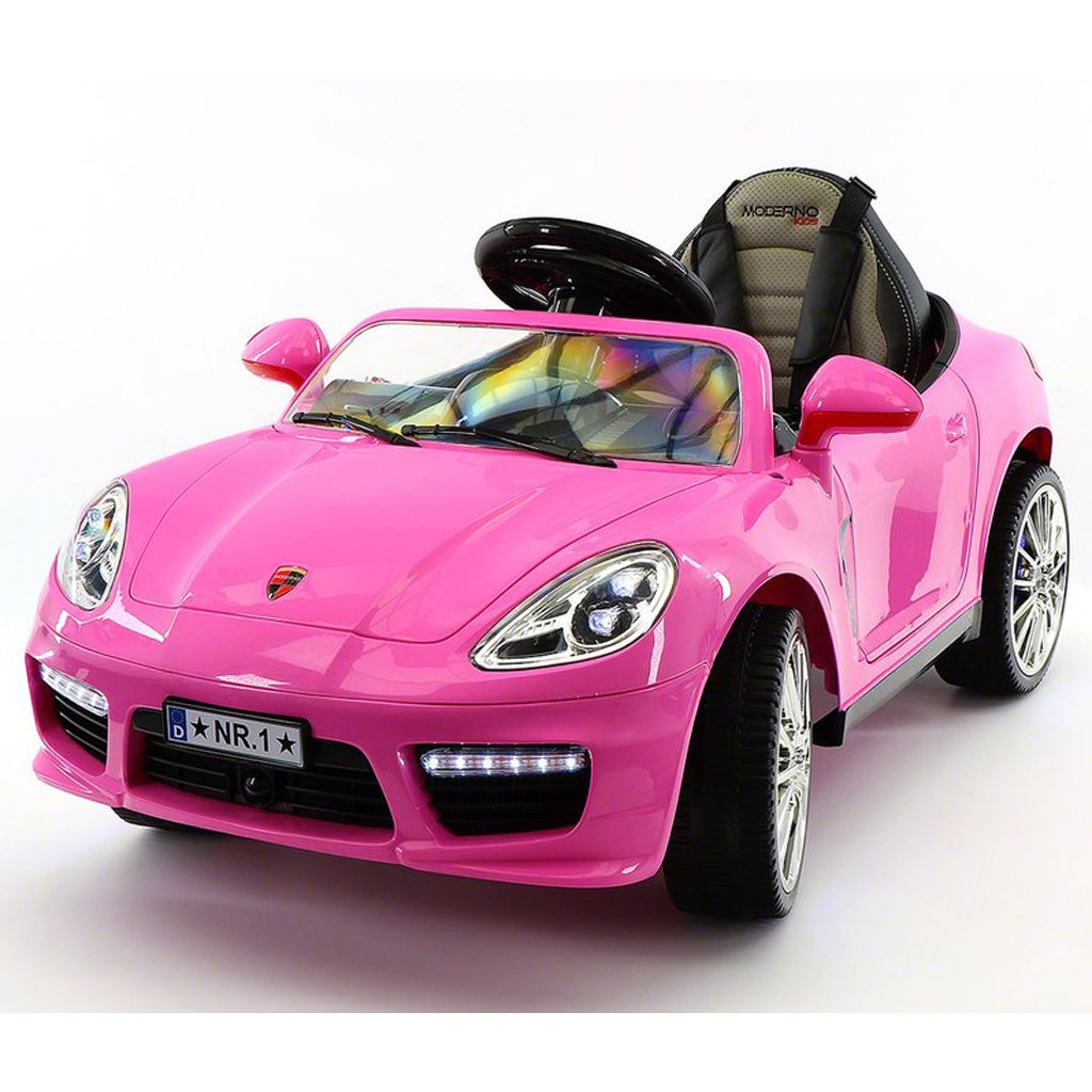 2018 Porshe Bokster Style Kids Electric Ride-On Car,12V Battery Powered , PU Leather Seat, MP3 + USB Player, LED Trim, Removable Baby Tray Table, R/C Parental Remote | PINK