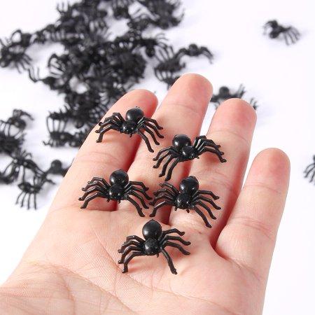 VBESTLIFE 50pcs 2cm Small Black Plastic Fake Spider Toys Funny Joke Prank Realistic Props,Decorative spiders,Black plastic spider - Realistic Fake Hand