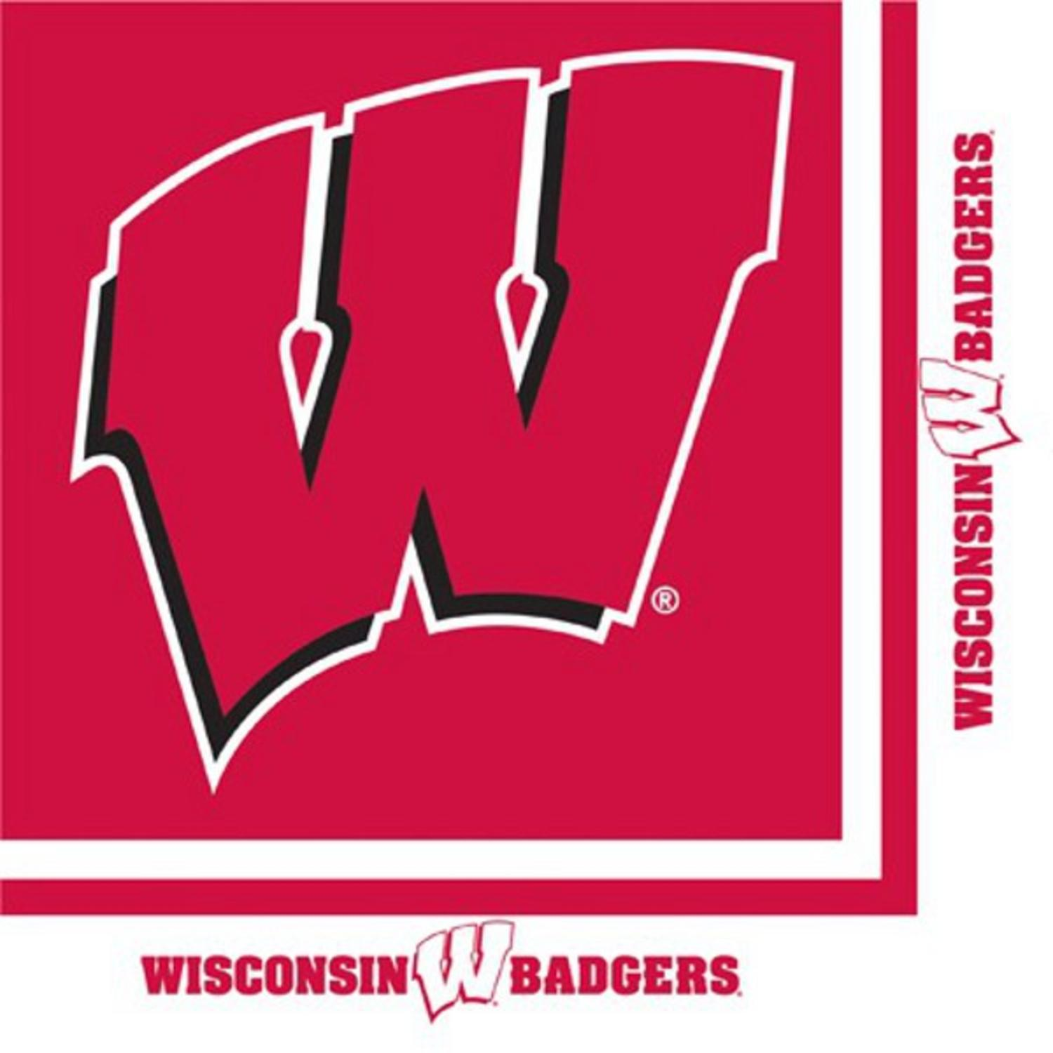 Club Pack of 240 NCAA Wisconsin Badgers 2-Ply Tailgating Party Lunch Napkins