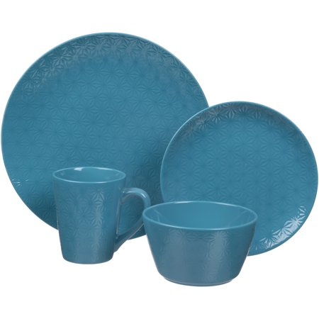 - Gaia Tablescapes Lola 16-Piece Dinnerware Set, Blue Sea