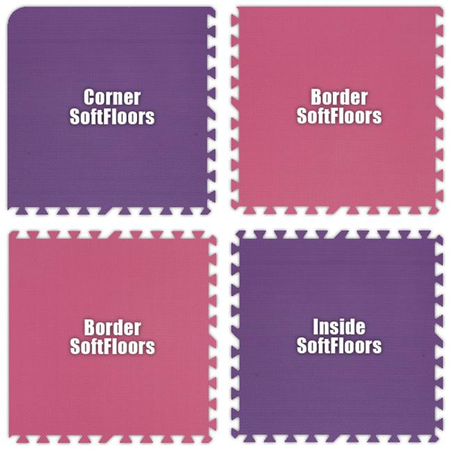 Alessco SFPEPK0202I SoftFloors -Purple & Pink Checkerboard -2  X 2  X .625inch Inside
