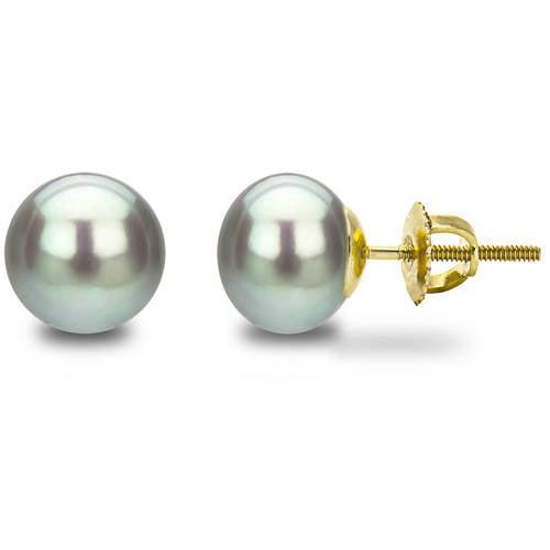 Image of 14kt 8-9mm Button Shape Grey Freshwater Pearl Screw-Back Stud Earrings