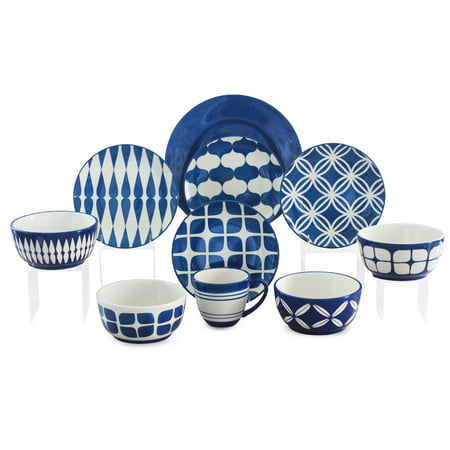 - Baum Retro Geometric Multi Print Blue 16-Piece Dinnerware Set