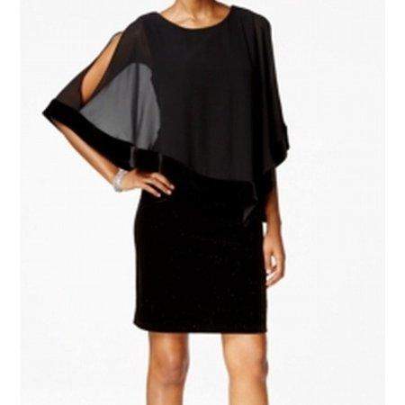 Msk Msk New Black Womens Size 12 Cape Overlay Velvet Glitter