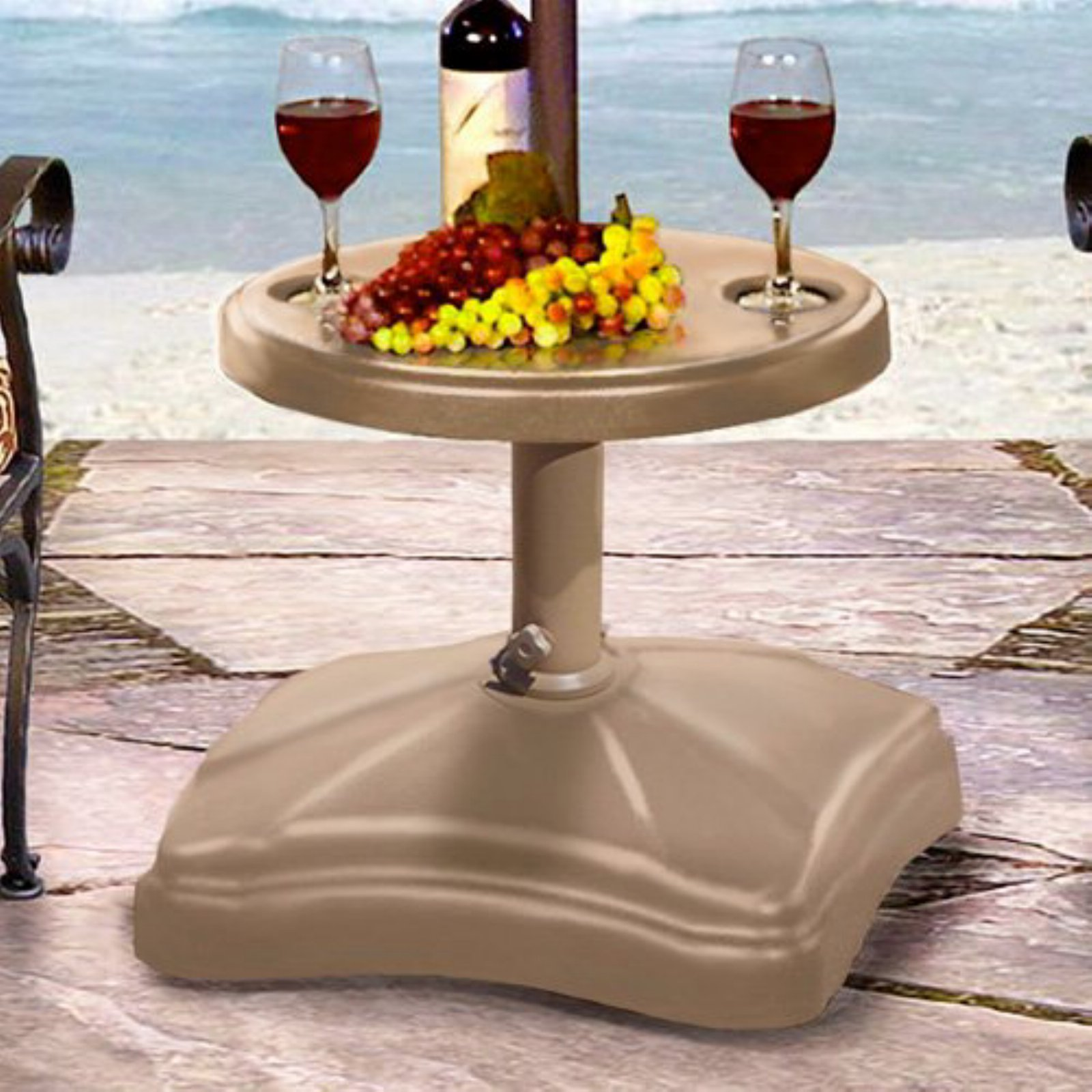 Shademobile Rolling Umbrella Stand and Accessory Table, Sand