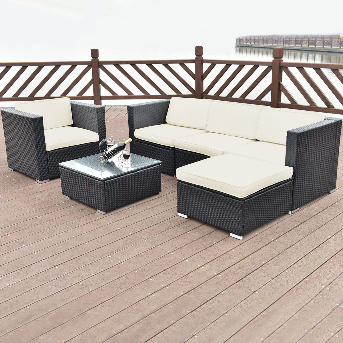 Costway 6 PC Patio Rattan Furniture Set Sectional Cushioned Seat