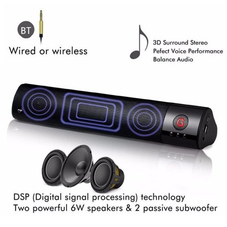 Stereo Audio Subwoofer - HIFI bluetooth 360° 3D Stereo Super Bass Audio Home Theater TV Soundbar Subwoofer FM Radio Speaker Wireless and Wired for TV/PC/Phones/Gaming Long Battery Life AUX/RCA TF USB