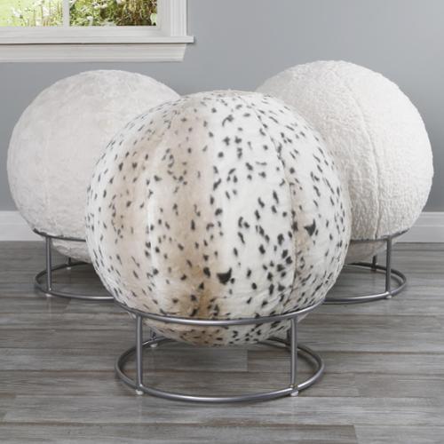 Aurora Home Faux Fur 65cm Yoga Ball Chair Lynx Walmartcom