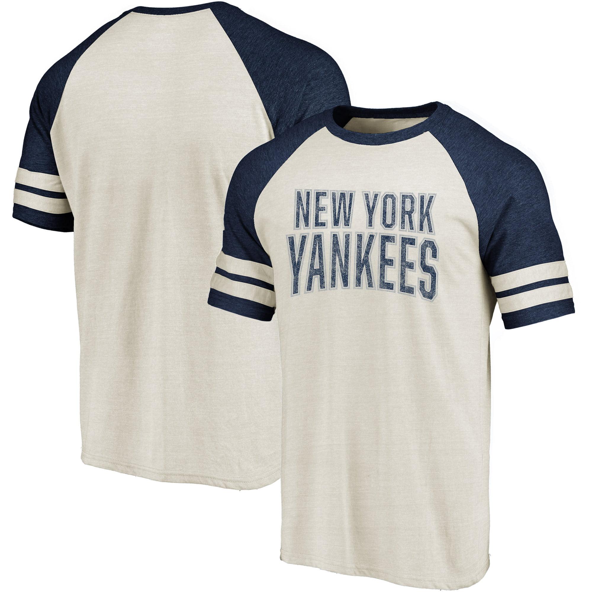 Men's Fanatics Branded Cream/Navy New York Yankees True Classics Colorblock Raglan T-Shirt