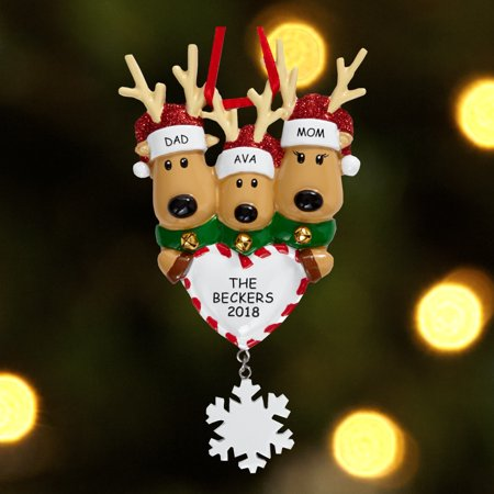 Personalized Reindeer Family Christmas Ornament - Family Choices From 2-6 People ()