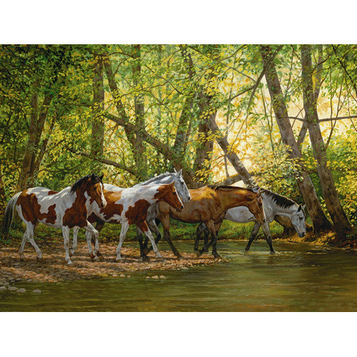 Cobble Hill Puzzle Company Shady Creek Horses 500 Piece Puzzle