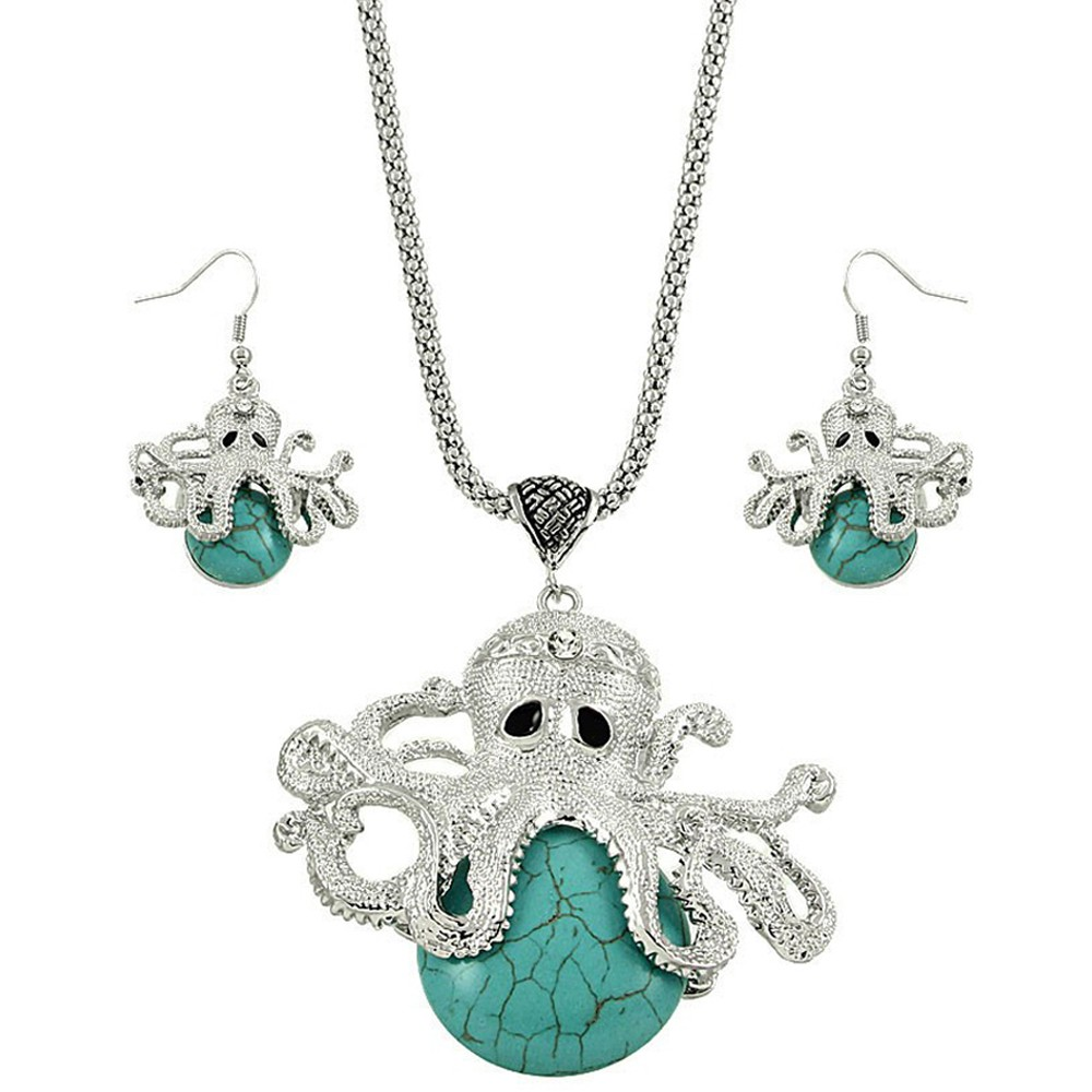 Falari Octopus Turquoise Semi Precious Stone Gemstone Necklace Earring Set