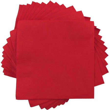 "JAM Paper Medium Lunch Napkins, 6 1/2"" x 6 1/2"", Red, 50/Pack"
