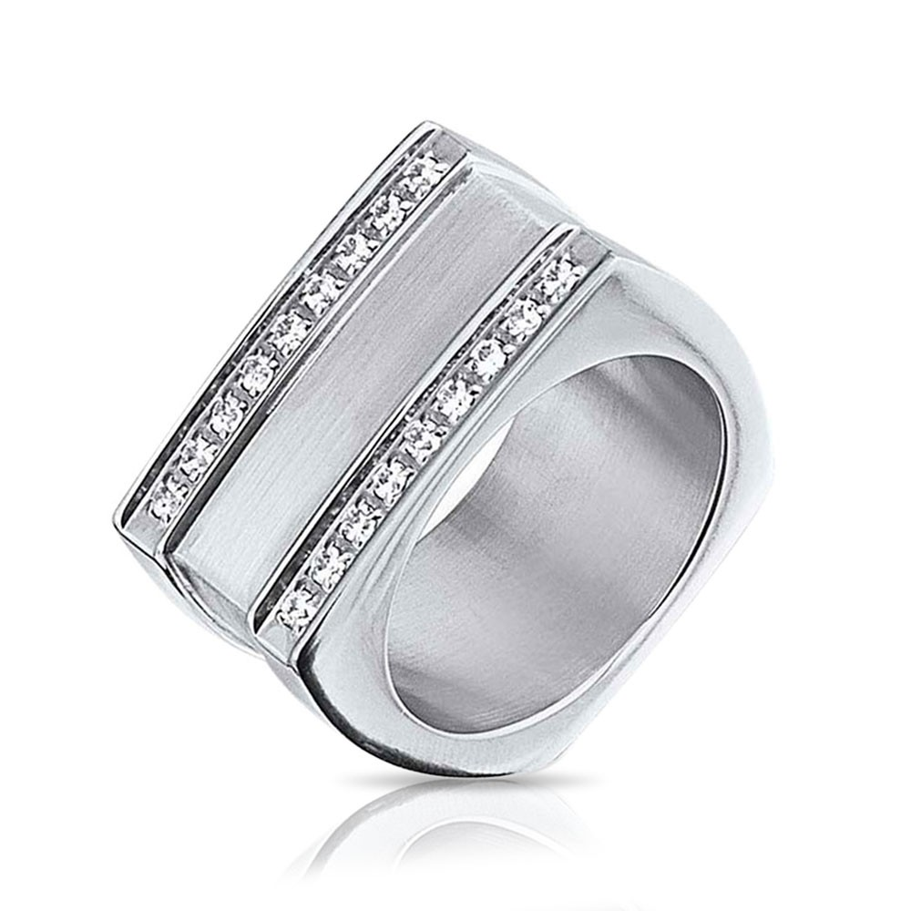 Mens Geometric CZ Stainless Steel Signet Ring