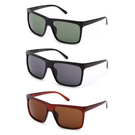 Men Fashion Squared Large Frame Sunglasses UV 400 Protection