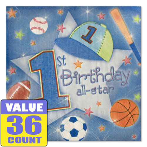 1st Birthday Boy 'All-Star' Small Napkins (36ct)