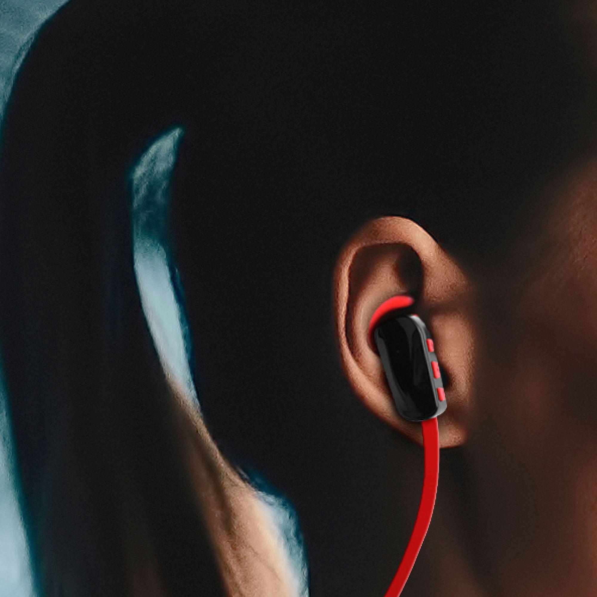 red Earbud Headphones AAB2