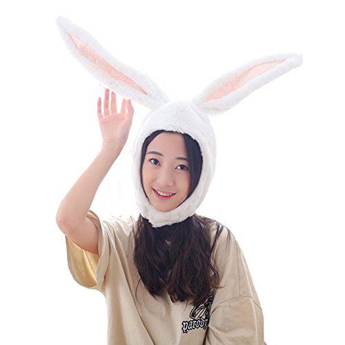 BOBILIKE Plush Fun Bunny Ears Hood Women Costume Hats Warm Soft and Cozy