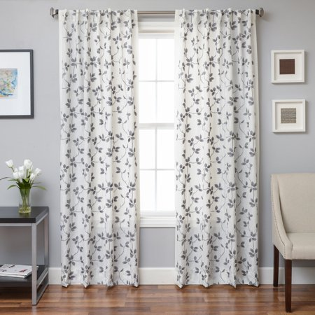 - Softline Agia Floral Embroidered Back Tab Curtain Panel