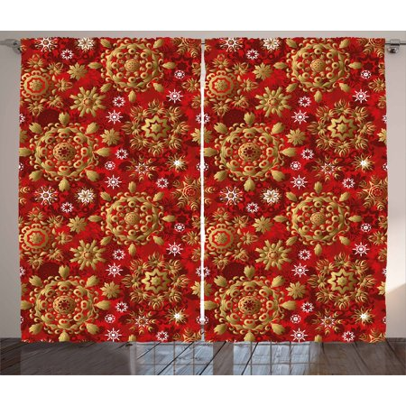 Red Mandala Curtains 2 Panels Set  Christmas New Year Ornaments Inspired Ethnic Tribal Floral Design  Window Drapes For Living Room Bedroom  108W X 108L Inches  Vermilion Gold White  By Ambesonne