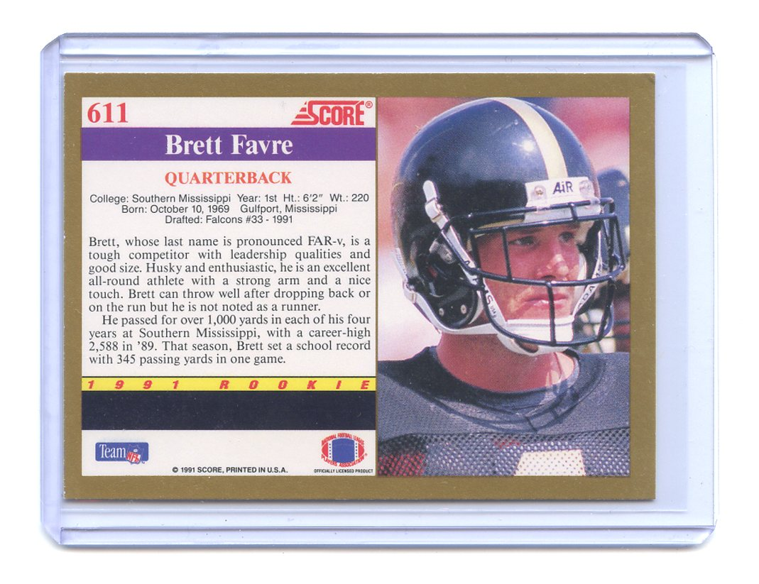 1991 Score 611 Brett Favre Atlanta Falcons Rookie Card