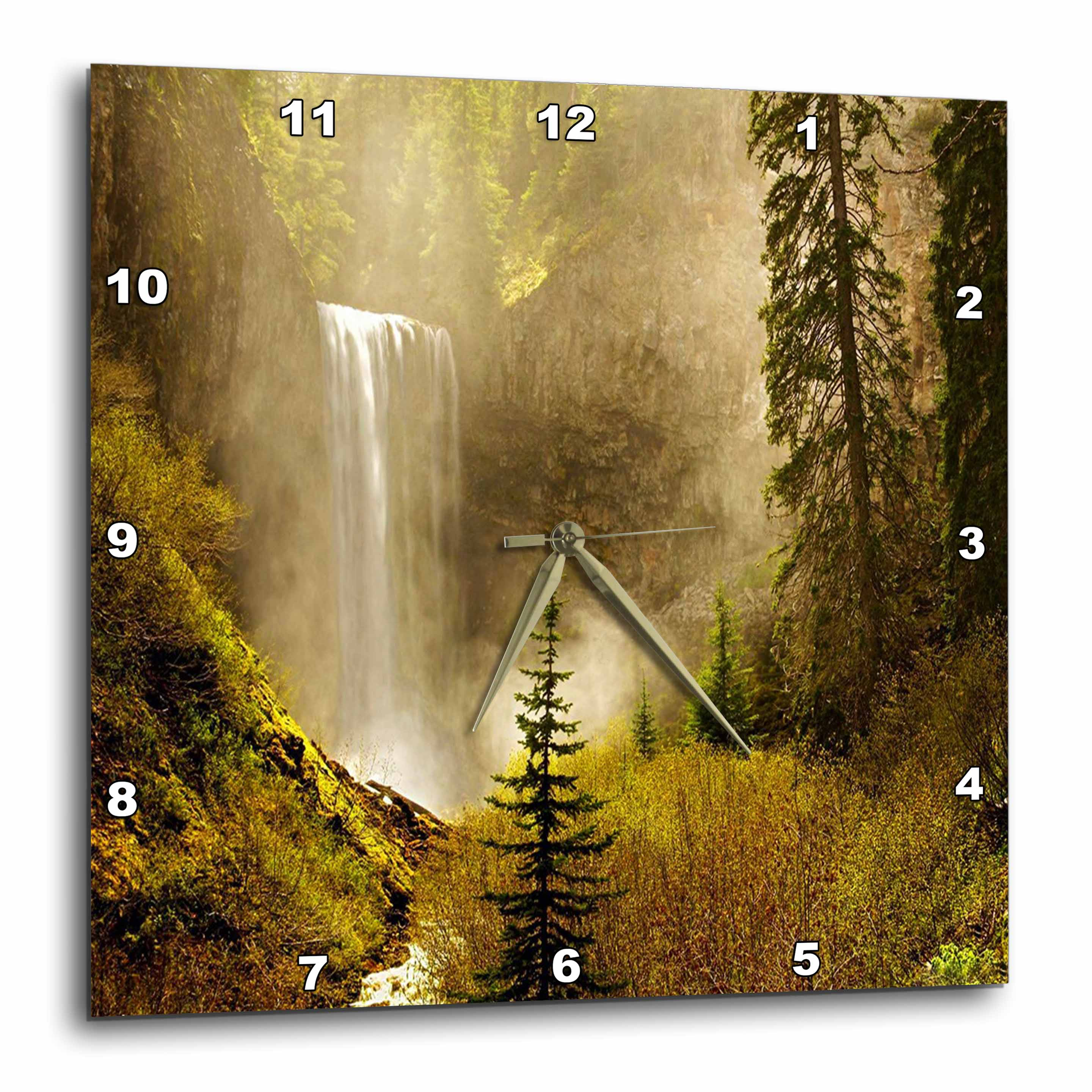3dRose Western Waterfall, Wall Clock, 13 by 13-inch