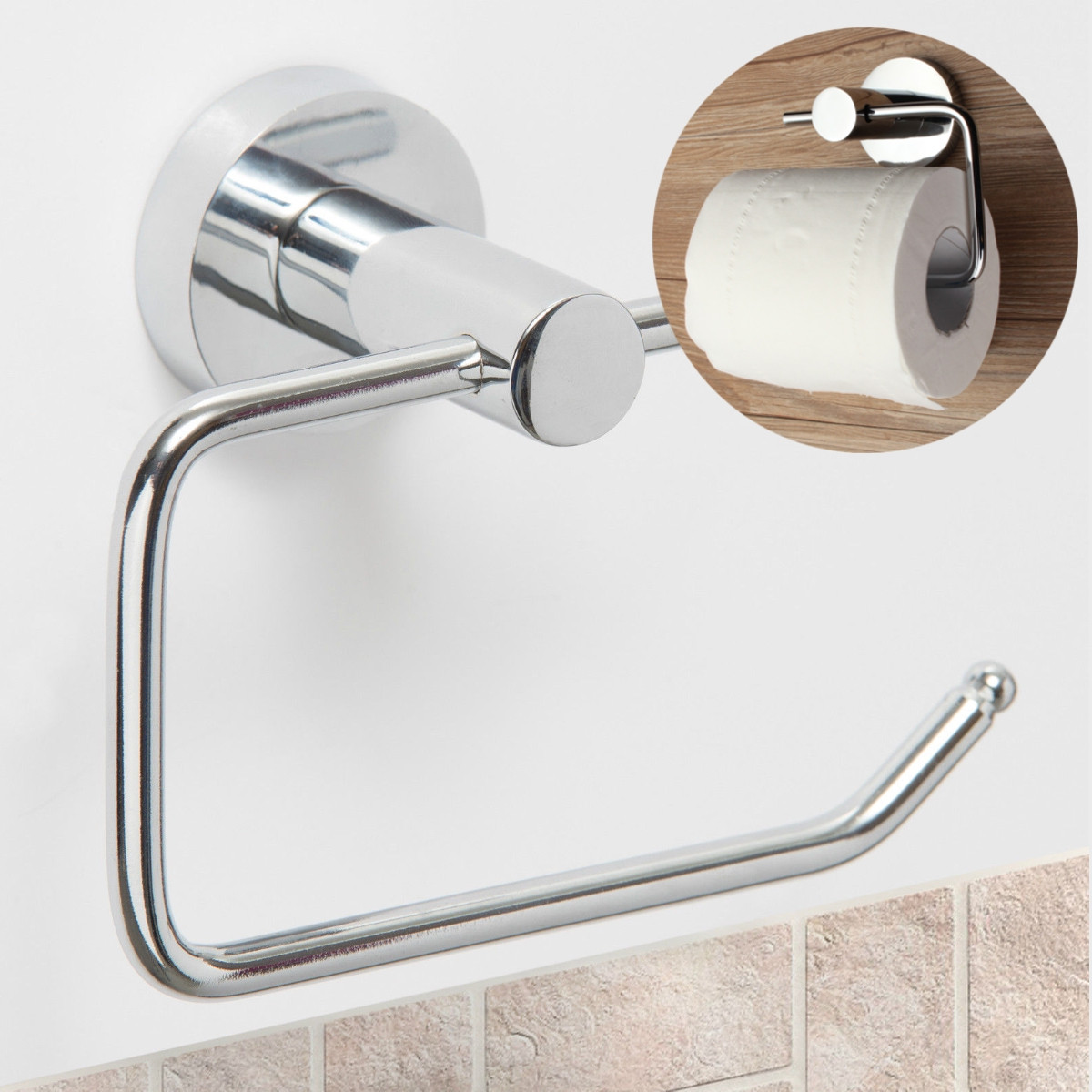 Toilet Paper Holder Storage Stainless Steel Bathroom Kitchen Paper Towel  Dispenser Tissue Roll Hanger Wall Mount