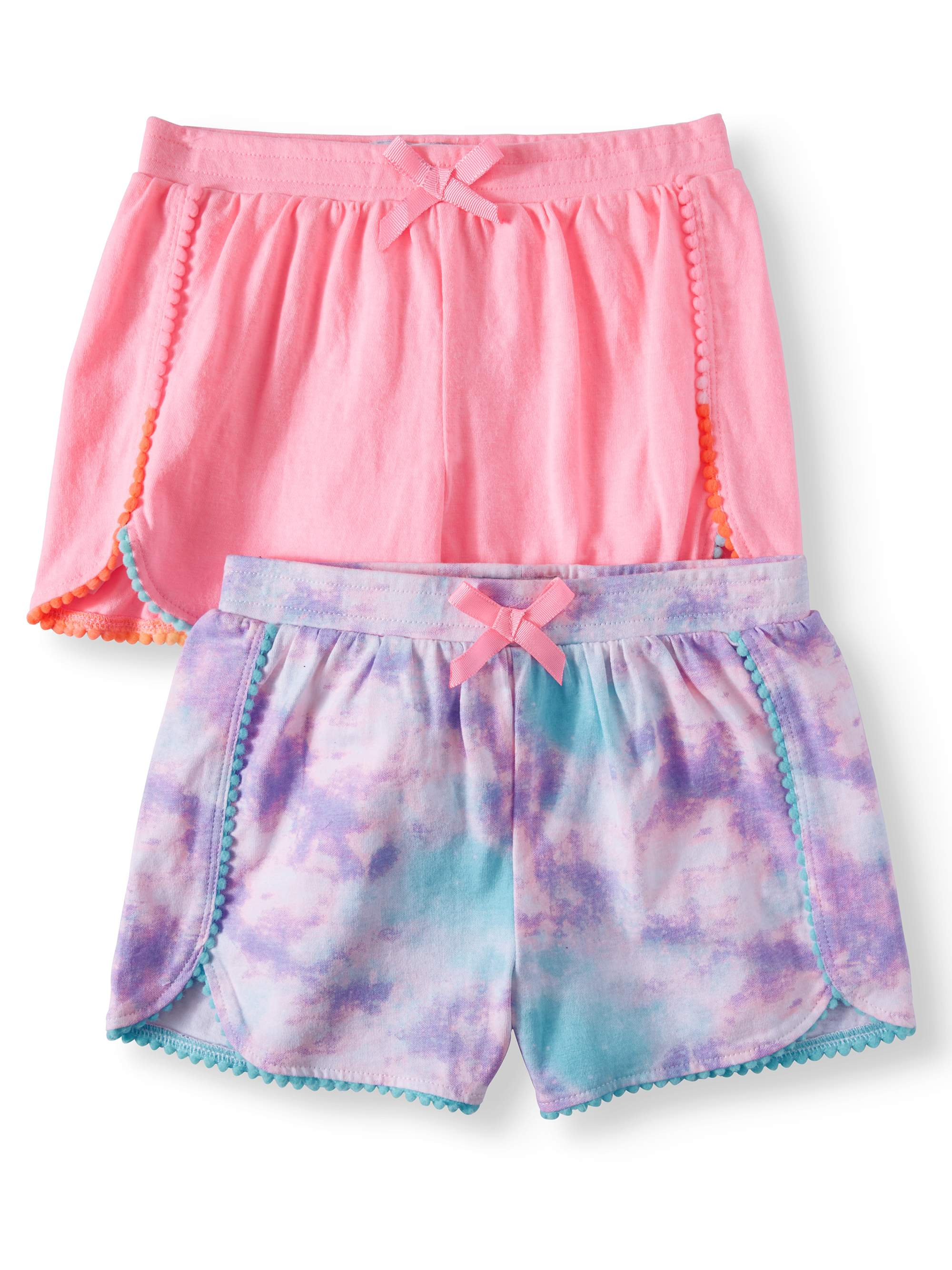 Solid and Printed Pom Trim Shorts, 2-Pack (Little Girls & Big Girls)